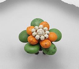Inel ajustabil model floare cu howlite vopsit verde, portocaliu