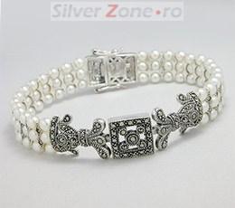 Bratari argint cu marcasite si perle artificiale