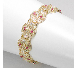 Bratari placate cu aur impodobite cu rubine si imitatii de diamante