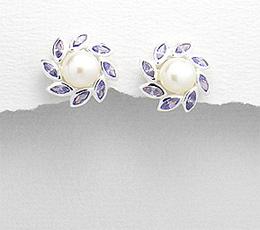 Cercei floare din argint cu perla de cultura si pietre mov