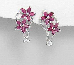 Cercei flori din argint cu rubine