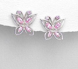 Cercei fluture din argint cu pietre roz