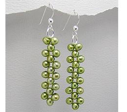 Cercei din argint cu perle verzi de cultura vopsite