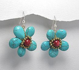 Cercei floare cu turcoaz reconstuit alama si coral