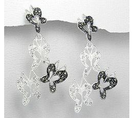 Cercei fluturi din argint cu marcasite si strasuri albe