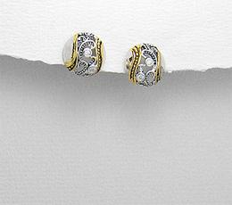 Cercei pe lob semisfera din argint in filigran placat cu aur decorat cu zirconia