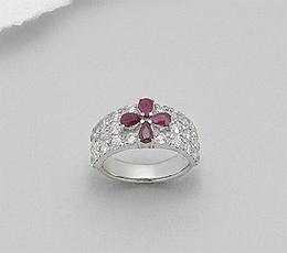 Inel din argint 925 cu aspect de aur alb cu rubine si imitatii de diamante