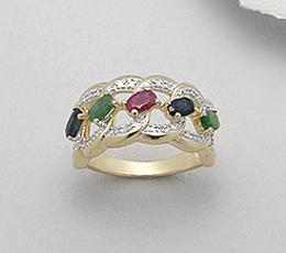 Inel din argint placat cu aur cu pietre semipretioase: rubin, smarald, safir