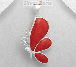 Pandantiv fluture din argint cu piatra rosie