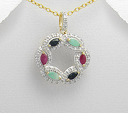 Pandantiv din argint placat cu aur cu pietre semipretioase: safire, rubine, smarald