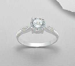 436 like-uri - Inel de logodna din argint cu piatra alba
