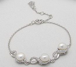 445 likeuri - Bratara din argint cu perle albe de cultura