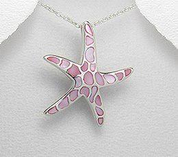 471 voturi - Pandantiv stea de mare din argint cu sidef roz