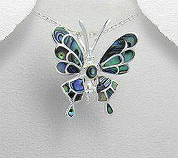 500 like-uri - Pandantiv fluture din argint cu sidef abalone verde