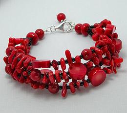 Bijuterii handmade - Bratara cu coral rosu