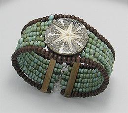 Bijuterii handmade - bratara fixa cu scoica si steluta de mare
