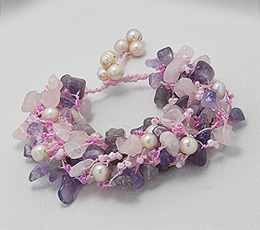 Bratara din sfoara cu cuart roz, ametist, ametrin, perle de cultura roz si margele din sticla