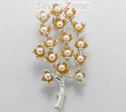 Brosa din argint cu email portocaliu copacul vietii cu perle de cultura