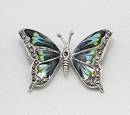 Brosa fluture din argint pictat manual cu email negru, albastru si galben cu marcasite
