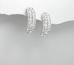 Cercei cu cristale albe din argint