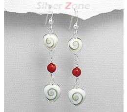 Bijuterii argint ieftine - Cercei lungi din argint cu scoica shiva si coral rosu