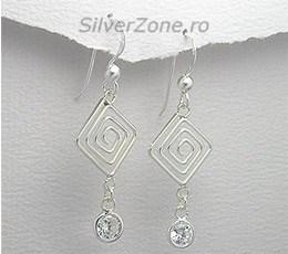 Bijuterii ieftine: cercei din argint model grecesc cu cubic zirconia alb