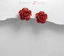 Bijuterii ieftine: cercei trandafir rosu din ceramica cu tortita din argint