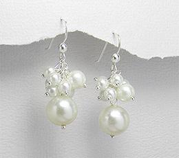 Bijuterii argint ieftine - Cercei lungi din argint cu perle artificiale