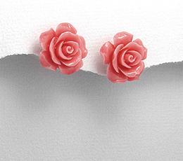 Bijuterii ieftine: cercei trandafir roz din ceramica cu argint