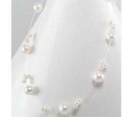 Bijuterii argint ieftine - Colier cu perle albe de apa dulce
