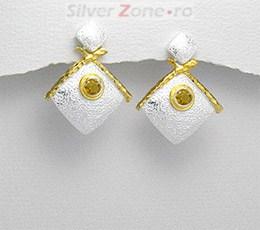 Cercei argint placat cu aur de 18 carate si cu citrin