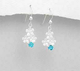 Cercei floricele din argint cu zirconia bleu