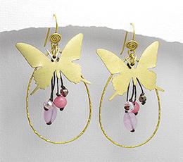 Cercei fluture din alama cu sfoara cerata si pietre roz