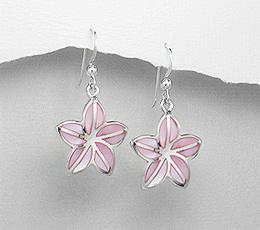 Cercei floare din argint cu sidef roz