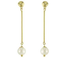 Cercei lungi din inox placat cu aur cu perla artificiala