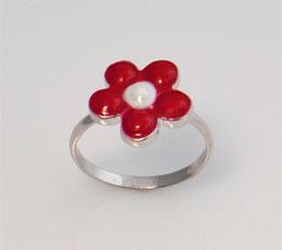 Inel din argint model floricica pictata cu email ros