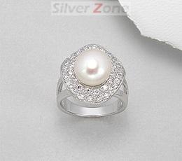 Inel din argint cu aspect de aur alb cu perla de cultura si imitatii de diamante