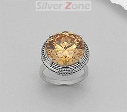 Inel din argint cu piatra mare rotunda de culoare coniac