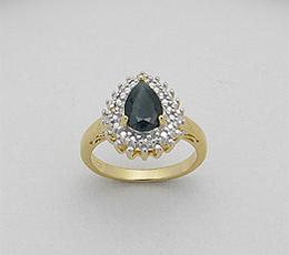 Inel din argint placat cu aur cu safir negru