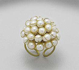 Inel ajustabil din alama cu perle de cultura