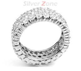 Inel verigheta din argint 925 cu aspect de aur alb cu imitatii de diamante