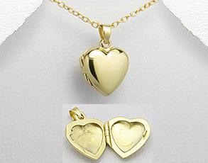Pandantiv mic inimioara care se deschide din argint placat cu aur