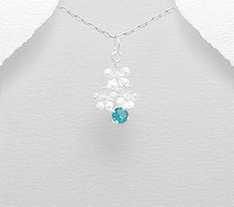 Pandantiv floricele din argint cu zirconia bleu