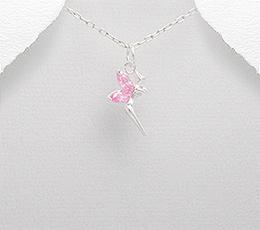 Pandantiv zana Tinkerbell din argint cu pietricele roz