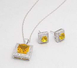 Set din argint cu zirconia galben: cercei si pandantiv