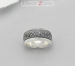 Inel verigheta din argint cu marcasite