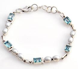 Bratara din argint cu perle de cultura si topaz bleu