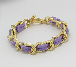 Bratara din inox aurit cu snur violet