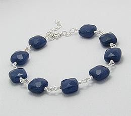 Bratara din argint cu pietre semipretioase de safir albastru