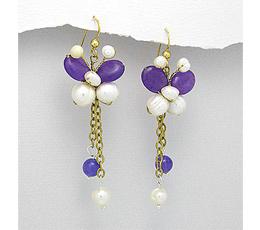 Cercei fluture cu pietre naturale mov si perle de cultura